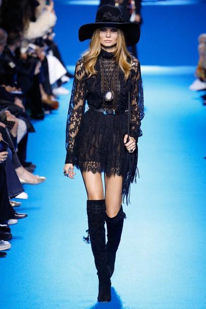 r1l7y2-l-610x610-dress-mini+dress-boho+dress-black-black+dress-lace+dress-hat-runway-fashion+week+2016-paris+fashion+week+2016-elie+saab